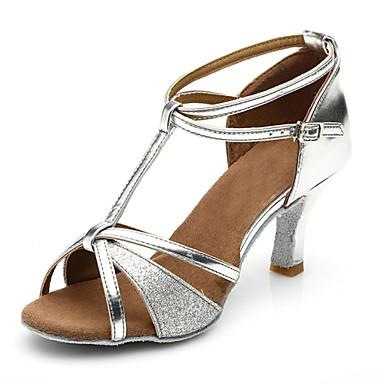 preiswerte Tanzschuhe-Damen Tanzschuhe Lackleder Schuhe für den lateinamerikanischen Tanz Absätze Schlanke High Heel Maßfertigung Silber