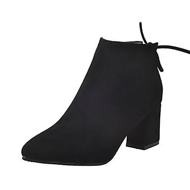 voordelige Dameslaarzen-Dames Laarzen Blokhak Gepuntte Teen PU Korte laarsjes / Enkellaarsjes minimalisme Herfst Zwart / Bruin