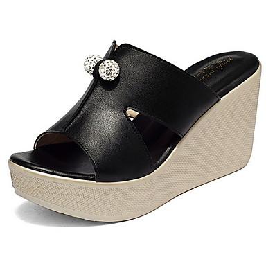 levne Dámské sandály-Dámské Sandály Klínový podpatek S otevřeným palcem PU Léto Černá / Bílá / Fuchsiová