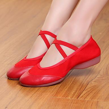 billige Utvalgte tilbud-Dame Dansesko Lerret Moderne sko Flate Flat hæl Svart / Rød