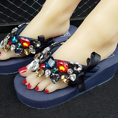 levne Dámské sandály-Dámské Sandály Creepers Oblá špička PU Léto Černá / Fialová / Světle modrá