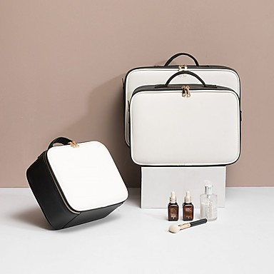 preiswerte Kosmetiktaschen-Wasserdicht Polyester PU Reißverschluss Kosmetik Tasche Volltonfarbe Alltag Schwarz / Braun / Hellgrau