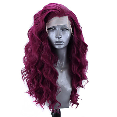 cheap Synthetic Lace Wigs-Synthetic Lace Front Wig Wavy Side Part Lace Front Wig Long Pink Bleach Blonde#613 Green Black / Grey Purple Synthetic Hair 18-26 inch Women's Adjustable Heat Resistant Party Purple