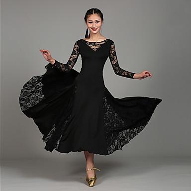 povoljno Odjeća i obuća za ples-Klasični plesovi Haljine Žene Seksi blagdanski kostimi Čipka / Tejszövet Čipka Dugih rukava Prirodno Haljina
