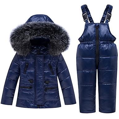 povoljno Odjeća za bebe-Dijete Djevojčice Ulični šik Jednobojni Szőrme gallér Dugih rukava Regularna Komplet odjeće Crn