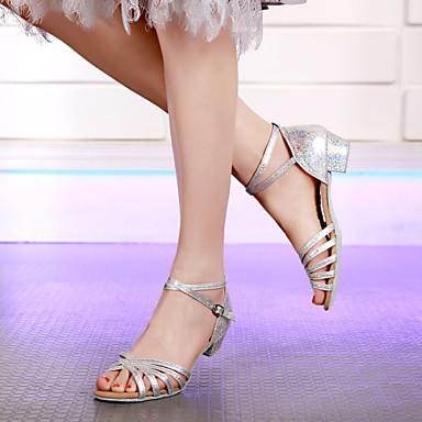 ieftine Pantofi Dans Clasic & Modern-Pentru femei / Fete Pantofi de dans Sintetice Pantofi Dans Latin / Pantofi Moderni MiniSpot Călcâi Grosime călcâială Alb / Auriu / Argintiu