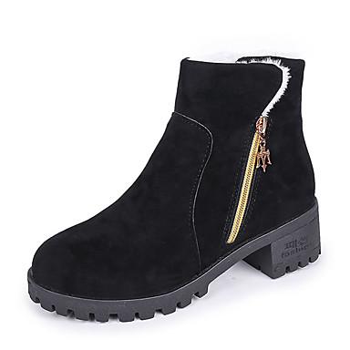 voordelige Dameslaarzen-Dames Laarzen Blokhak Ronde Teen Satijn Kuitlaarzen Herfst winter Zwart / Groen / Grijs