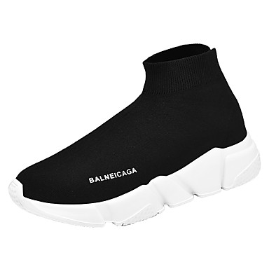 cheap Men's Sneakers-Men's Comfort Shoes Tissage Volant Spring & Summer Casual Sneakers Breathable Slogan Black / Black / White / Red