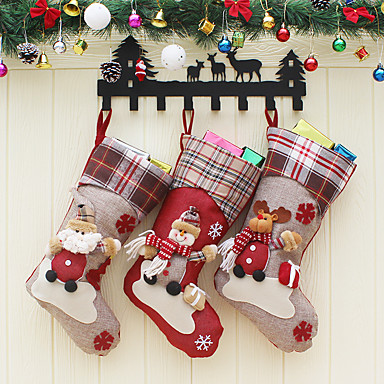[$10.44] Christmas Stockings Santa Claus Sock Gift For Children Candy Bag  Christmas Decoration Noel For Home Christmas Tree Ornaments