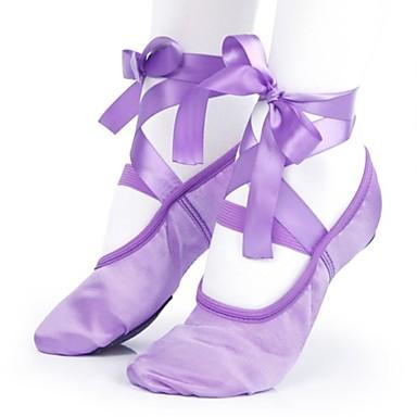 preiswerte Tanzschuhe-Damen Tanzschuhe Satin Balletschuhe Flach, Ballerina Flacher Absatz Maßfertigung Purpur / Knackmandel / Rot
