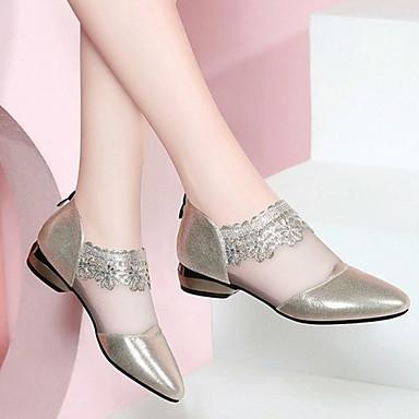 levne Dámské boty s plochou podrážkou-Dámské Bez podpatku Rovná podrážka Oblá špička PU Podzim zima Černá / Zlatá