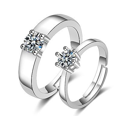 levne Dámské šperky-Pro páry Snubní prsteny Prsten 1ks Bílá Stříbrná Měď Kulatý Základní korejština Módní Svatební Šperky