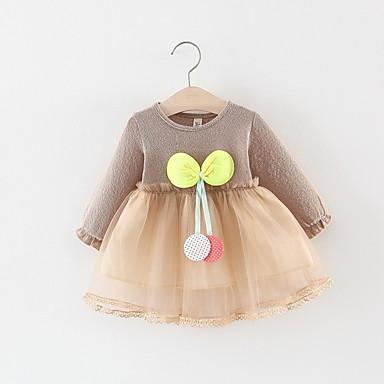 povoljno Odjeća za bebe-Dijete Djevojčice Aktivan Jednobojni Dugih rukava Haljina Blushing Pink