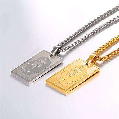 povoljno Modne ogrlice-Muškarci Ogrlice s privjeskom Ogrlica Charm Necklace Lice Jednostavan Klasik Moda Tikovina Zlato Srebro 55 cm Ogrlice Jewelry 1pc Za Dnevno
