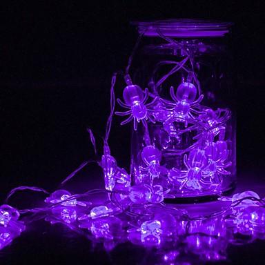 halloween edderkopp strengelys batteridrevet 1,5m 10 ledet vanntett lys for innendørs utendørs halloween fest juleferie dekorasjoner
