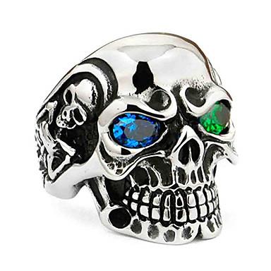 levne Pánské šperky-Pánské Prsten 1ks Červená Zelená Štras Slitina nepravidelný Vintage Geleneksel Módní Denní Šperky Retro styl Lebka