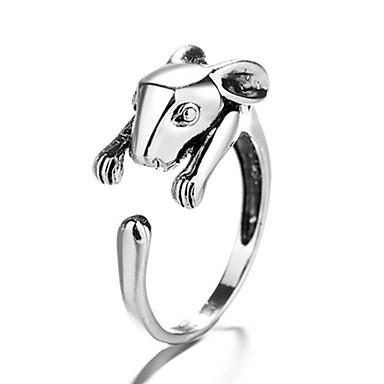 billige Motering-Herre Dame Ring 1pc Sølv Kobber Sirkelformet Vintage Grunnleggende Mote Festival Smykker Kanin Dyr Smuk