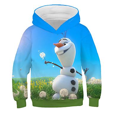 ieftine Hanorac Fete & Tricouri-Copii Fete Activ Șic Stradă Om de Zăpadă Imprimeu Imprimeu Manșon Lung Hanorac Albastru piscină