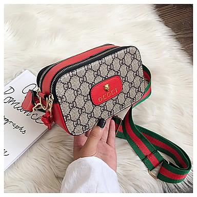 cheap Crossbody Bags-Women's Pattern / Print PU Crossbody Bag Color Block Black / Red / Dark Coffee