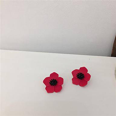 povoljno Naušnice-Žene Naušnica Tropical Cvijet S925 Sterling Silver Naušnice Jewelry Crvena Za Dar Dnevno Festival 1 par