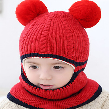 cheap Kids' Hats & Caps-Kids / Toddler Boys' / Girls' Active / Basic / Sweet Solid Colored Stylish / Knitting Cotton / Roman Knit Hats & Caps Black / Blushing Pink / Yellow One-Size