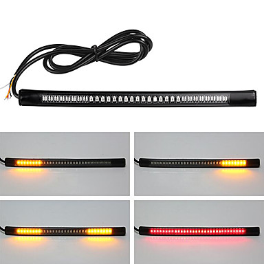 cheap Motorcycle Lighting-2pcs Flexible Motorcycle Brake Light 48LED License Plate Light Red Amber Tail Brake Stop Turn Signal Lamp With Cable Wire