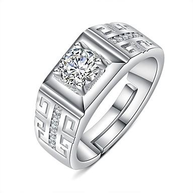 levne Pánské šperky-Pánské Prsten Otevřete kruh 1ks Stříbrná Měď Kulatý Základní korejština Módní Dar Denní Šperky