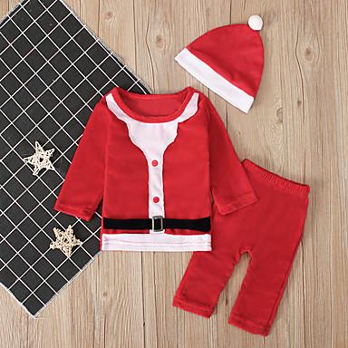 preiswerte Babykleidung-Baby Jungen Aktiv / Grundlegend Einfarbig / Weihnachten Langarm Standard Kleidungs Set Rote