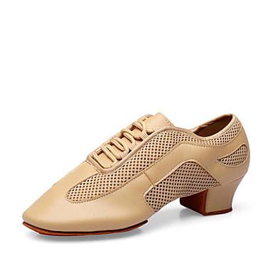 preiswerte Shall We® Tanzschuhe-Damen Tanzschuhe Leder Jazztanzschuhe Sneaker Starke Ferse Maßfertigung Schwarz / Kamel