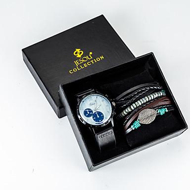 preiswerte Halsketten Uhr-Herrn Uhr Halskettenuhr Quartz PU - Leder Schwarz / Braun nein Chronograph Neues Design Armbanduhren für den Alltag Analog Neuankömmling Modisch Schwarz Purpur Blau