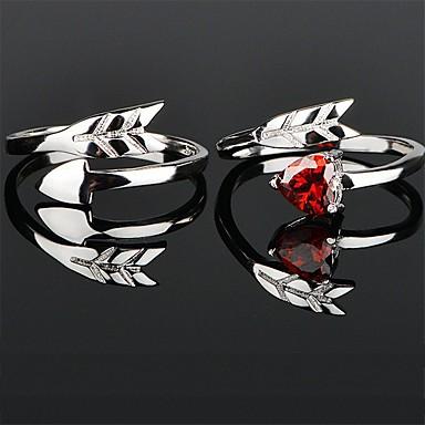 levne Dámské šperky-Pro páry Snubní prsteny Prsten 1ks Stříbrná Červená Měď Kulatý Základní korejština Módní Svatební Zásnuby Šperky Miláček Heart
