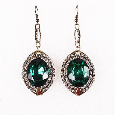 povoljno Modne naušnice-Žene Sintetički Emerald Viseće naušnice Kruška Ispustiti Vintage Naušnice Jewelry Tamno zelena Za Dnevno 1 par