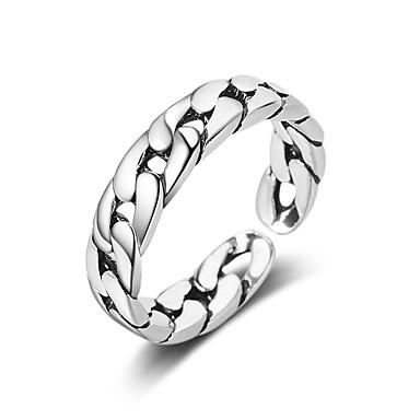 levne Pánské šperky-Pánské Dámské Prsten Otevřete kruh 1ks Stříbrná Měď Kulatý Základní korejština Módní Dar Denní Šperky Vlna