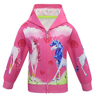 economico Giacche e cappotti per ragazze-Bambino Da ragazza Attivo Essenziale Unicorn Fantasia geometrica Standard Giubbino e cappotto Viola