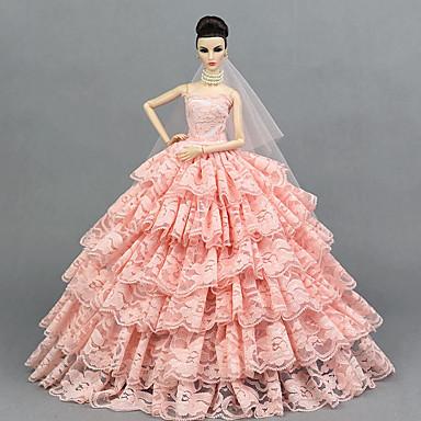 voordelige Poppenaccessoires-Poppenjurk Feest / Avond Voor Barbie Lichtgeel Rose Rood Wit Tule Kant Pailletten Kleding Voor voor meisjes Speelgoedpop