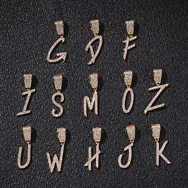 povoljno Modne ogrlice-Muškarci Žene Kubični Zirconia Privjesci Chandelier Alphabet Shape Gljiva Europska pomodan Rock Moda Početno Nakit Broš Jewelry Zlato Srebro Za Ulica