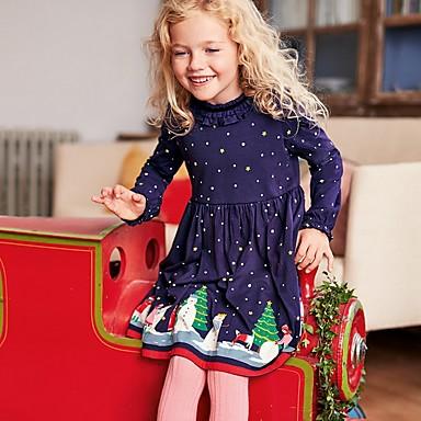 baratos Roupas de Meninas-Infantil Para Meninas Poá Natal Vestido Azul Marinha