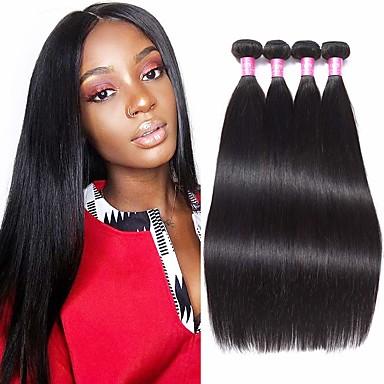 povoljno Ekstenzije od ljudske kose-4 paketića Brazilska kosa Ravan kroj Ljudska kosa Ekstenzije od ljudske kose Prirodna boja Isprepliće ljudske kose proširenje Rasprodaja Proširenja ljudske kose / 8A