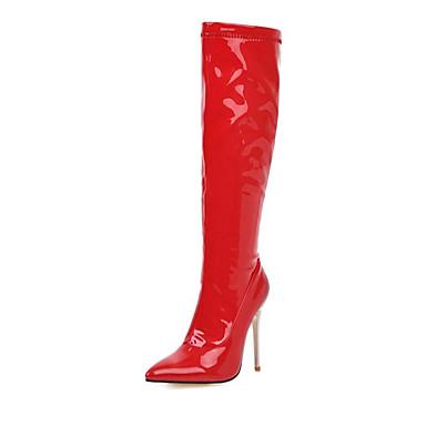 저렴한 여성 부츠-여성용 부츠 무릎 높이 부츠 스틸레토 굽 뾰족한 발가락 PU 무릎 높이 부츠 가을 겨울 블랙 / 화이트 / 레드 / 결혼식