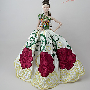 levne Doplňky pro panenky-Šaty pro panenky Pro Barbie Černá Sytě červená Tmavě červená Satén / Tyl Krajka Satén Šaty Pro Dívka je Doll Toy