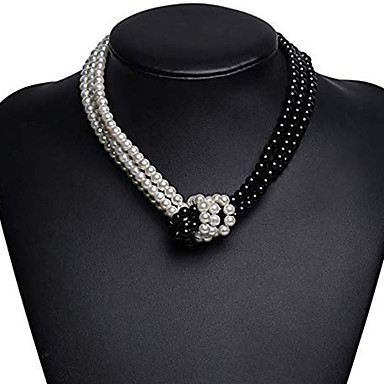 povoljno Modne ogrlice-Žene Ogrlica Dvobojna Čvor Azijski Jednostavan Europska Moda Imitacija bisera Krom Crn Sive boje 40 cm Ogrlice Jewelry 1pc Za Dnevno Večer stranka