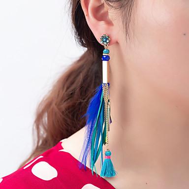 povoljno Modne naušnice-Žene Viseće naušnice Jastuk Duga Umjetnički Nature Slatka Style Perje Naušnice Jewelry Plava / Duga Za Vjenčanje diplomiranje Stage 1 par