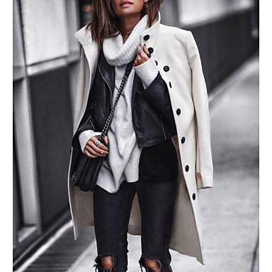 cheap New Arrivals-Women's Daily Long Coat, Solid Colored Stand Long Sleeve Polyester Black / White