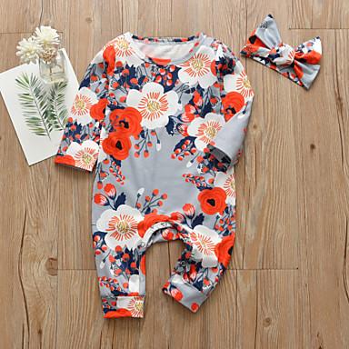 povoljno Odjeća za bebe-Dijete Djevojčice Aktivan / Osnovni Cvjetni print / Print Print Dugih rukava Jednodijelno Duga