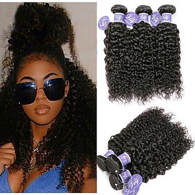 povoljno Ekstenzije od ljudske kose-6 paketića Malezijska kosa Kinky Curly Virgin kosa Netretirana  ljudske kose Headpiece Ljudske kose plete Bundle kose 8-28 inch Natural Prirodna boja Isprepliće ljudske kose Dar Visokog sjaja