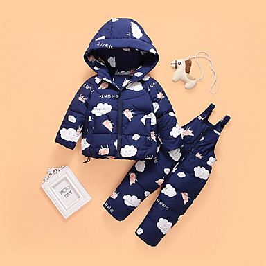 povoljno Odjeća za bebe-Dijete Djevojčice Ulični šik Print Dugih rukava Regularna Komplet odjeće Svjetloplav