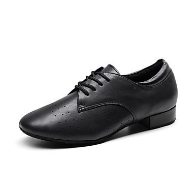 preiswerte Shall We® Tanzschuhe-Herrn Tanzschuhe Leder Schuhe für modern Dance Absätze Starke Ferse Maßfertigung Schwarz
