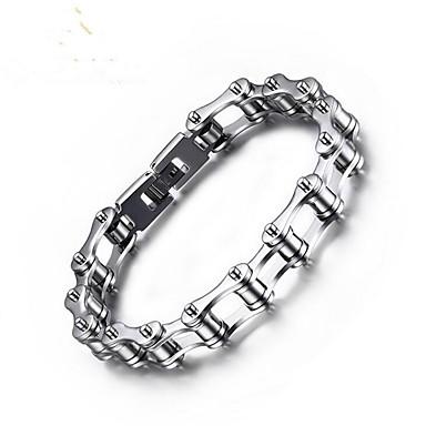 levne Pánské šperky-Pánské Řetězové & Ploché Náramky Klasika Kolo stylové Titanová ocel Náramek šperky Stříbrná Pro Denní