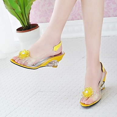 cheap Women's Sandals-Women's Sandals Wedge Sandals Flat Sandals Clear / Transparent / PVC Wedge Peep Toe Casual Daily Flower Solid Colored Patent Leather Summer White / Black / Yellow