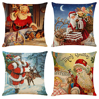 cheap Throw Pillow Covers-Set of 4 Retro Santa Linen Square Decorative Throw Pillow Cases Sofa Cushion Covers 18x18
